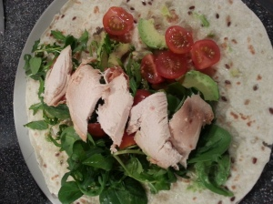 Lunch: chicken, avocado, raw kale, spinach, watercress and tomato wrap