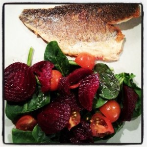 Dinner: Sea Bass with a beetroot, tomato and spinach salad