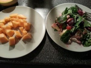 spinach salad with cheese and beetroots and melon